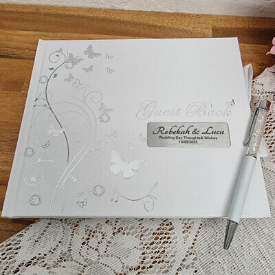 AU40 • Buy Personalised Wedding Guest Book White Silver Butterfly - Made To Order