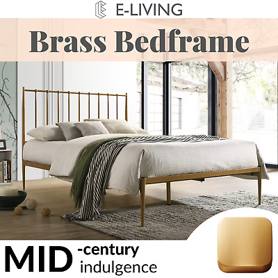 AU180 • Buy Mid Century Metal Bed Frame Base Platform In Gold Double Queen King Timber Slat