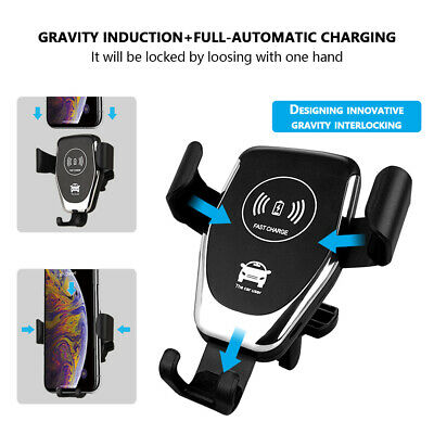 AU11.39 • Buy Qi Wireless Fast Charger Car Gravity Holder Mount For IPhone X Xs Max S9 S10 +