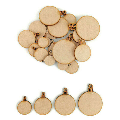 Christmas Blank Bauble MDF Craft Shapes Wooden Gift Tags Decoration Circle Xmas • 2.45£