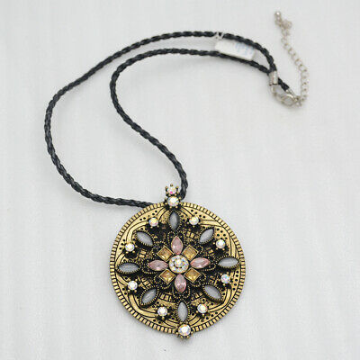 $ CDN10.46 • Buy Lia Sophia Jewelry Vintage Gold Tone Large Flower Pendant Cut Crystals Necklace