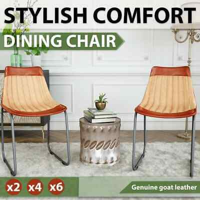 AU158.99 • Buy VidaXL 2/4/6x Dining Chairs Genuine Leather And Canvas Brown Beige Furniture