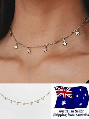 AU4.95 • Buy Fashion Women Simple Gold Star Choker Necklace Chain Jewelry Gifts Choker 1pc