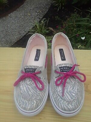 SPERRY Pink Biscayne 1 Eye Animal Print Sequin Boat Shoes Flats Women ( Size 5 ) • 12.99$