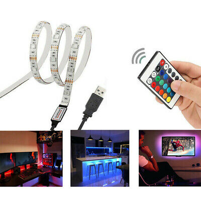 AU14.49 • Buy 0.5-5M RGB 5050 USB LED Strip Light 5V TV Back Lamp Colour Changing AU STOCK