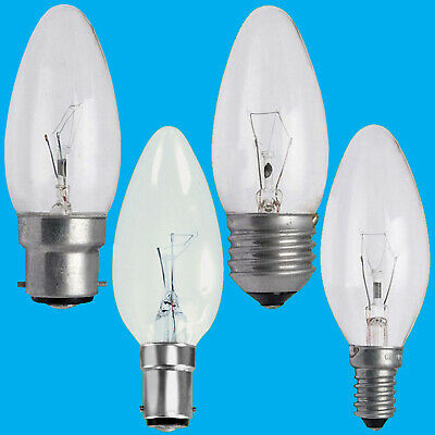4x Clear Candle Dimmable Standard Light Bulbs 25W 40W 60W BC ES SBC SES Lamps • 6.98£