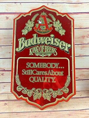 "$ CDN65.25 • Buy Vintage Budweiser ""King Of Beers"" Red Tin Bar Wall Sign Man Cave"