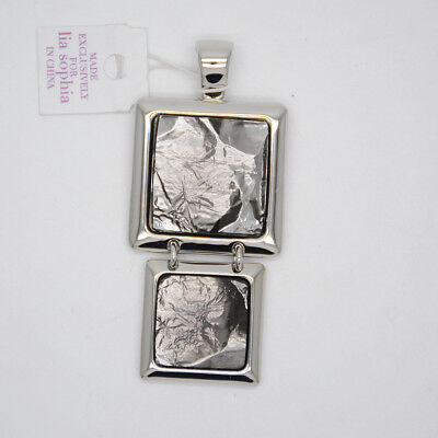 $ CDN10.03 • Buy Lia Sophia Signed Jewelry Silver Plated Square Pendant Polished Slide For Women