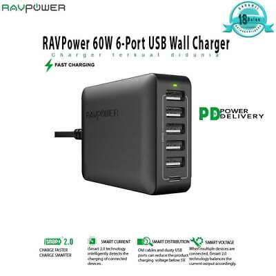 AU80.34 • Buy RavPower Wall Charger Station Quick Charge 3.0 6xUSB 60W 12A EU Version RP-PC029