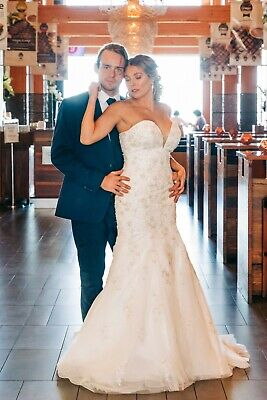 AU200 • Buy Strapless Wedding Dress BRAND NEW Size 12 Gown Lace Beading