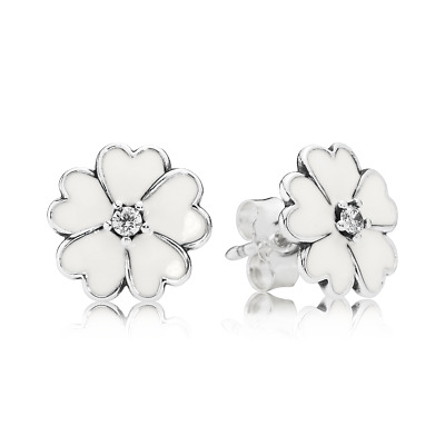 AU39.99 • Buy PANDORA EARRINGS Sterling Silver ALE S925  WHITE PRIMROSE STUDS  290569EN12