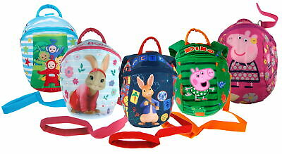 Boys Girls Character Backpack With Detachable Reins Toddlers Nursery Safety Bag • 9.95£