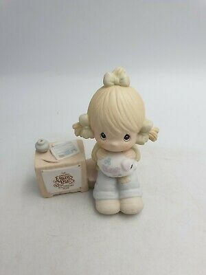 Enesco Precious Moments Bisque Figurine Ornament Girl Collecting Dues E0404 1983 • 15.99£