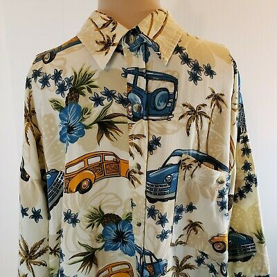 $15.99 • Buy Sun Casuals Men's Button Up Shirt Woody Cars Palm Trees Surfer Beach