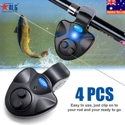 AU27.99 • Buy 4pcs Electronic Fish Bite Sound Alarm LED Light Alert Bell Clip-On Fishing Rod