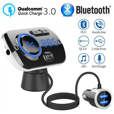 UK Bluetooth Handsfree Car Kit FM Transmitter MP3 Playe&USB Charger For Iphone X • 16.99£