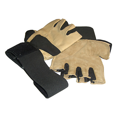 £10.99 • Buy Gold Gym Gloves LEATHER Weightlifting Weight Lifting Wrist Support Bodybuilding