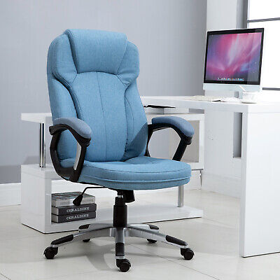 Executive Office/ Gaming Chair Rock Adjustable Padded Seat W/ Wheels Linen Blue • 115.99£