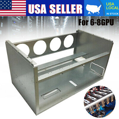 Aluminum 6-8 GPU Mining Miner Rig Case Open Air Frame ETH BTC Ethereum Stackable • 25.64$