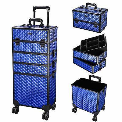 $102.98 • Buy 4 In1 Professional Aluminum Rolling Makeup Train Case Wheel Cosmetic Box Stroge