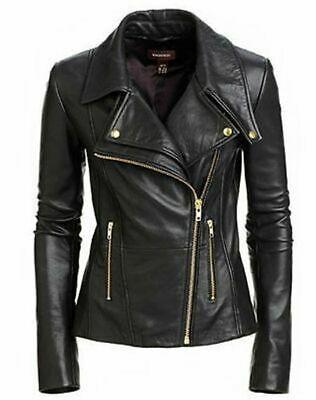 £79.99 • Buy Womens Real Leather Black Biker Jacket With Gold Style Trims Leather Jacket