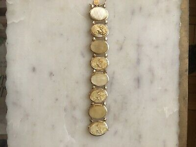 $750 • Buy MM Scognamiglio, Mother Of Pearl,Cameo Vintage Bracelet 14K Gold, Italy-Signed
