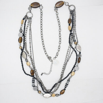 $ CDN20.35 • Buy Lia Sophia Jewelry Black Multi Layered Long Beaded Glass Stone Necklace For Gift