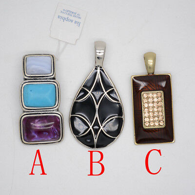 $ CDN10.44 • Buy Lia Sophia Jewelry Necklace Pendant Vintage Silver Tone Enamel Slide Cut Crystal