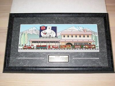 COCA COLA Brand Pin Set - 1997 Train / Lapel Pins Framed 1 Of 2500 - New Boxed • 71.78£
