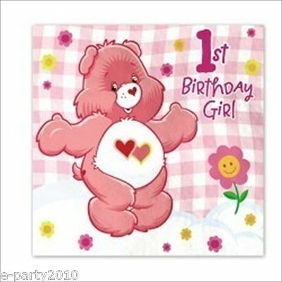 CARE BEARS GIRL'S 1st BIRTHDAY LUNCH NAPKINS (16) ~ First Party Supplies Pink • 9.38£