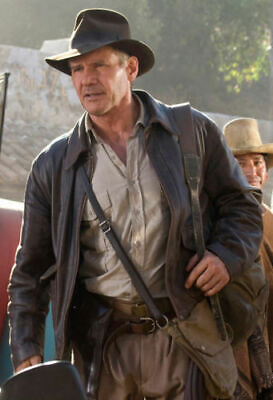 Indiana Jones Harrison Ford Distressed Brown Cow Hide Real Leather Jacket  • 87.99£