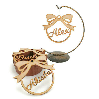 Personalised Christmas Tree MDF Decoration Baubles Wooden Shapes Name Gift Tags  • 2.45£