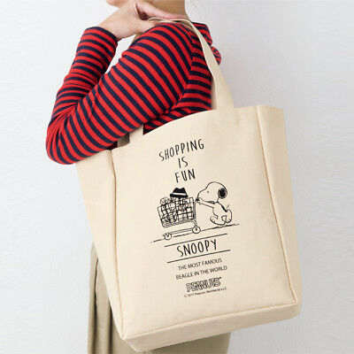Snoopy Peanuts Canvas Tote Shoulder Shopping Bag Shopping Cart • 12.98£