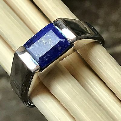$94.99 • Buy Natural Blue Lapis Lazuli 925 Solid Sterling Silver Emerald Cut Men's Ring Sz 10