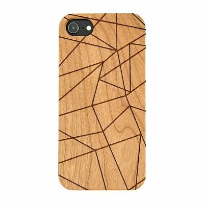Geometric Lines Natural Wooden Phone Case Bamboo IPHONE SAMSUNG HUAWEI PIXEL • 9.99£