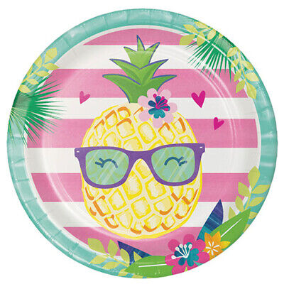 HAWAIIAN LUAU Pineapple And Friends LARGE PAPER PLATES (8) ~ Party Supplies Pink • 3.08£