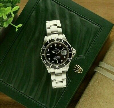 $ CDN11158.10 • Buy Rolex Submariner Black Dial Stainless Steel Watch 16610 No Holes With Box