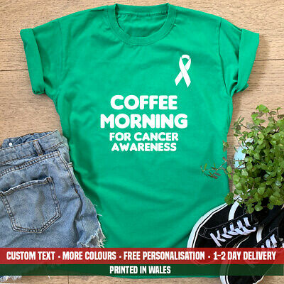 £11.99 • Buy Ladies Coffee Morning For Cancer Awareness T-shirt Worlds Donation Macmillan Top