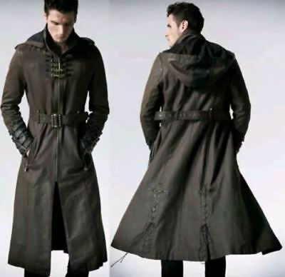 Men Hooded Steampunk Gothic Coat Military Real Leather Trench Coat Jacket New  • 189.99£