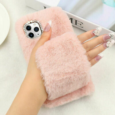 For IPhone 11 Pro Max Bling Diamond Warm Glove Comfy Faux Fur Fluffy Case Cover • 4.99£