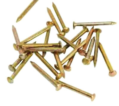 BRASS ESCUTCHEON PINS 6mm x 18g WITH TACKED NAILS PICTURE FRAME HANGING