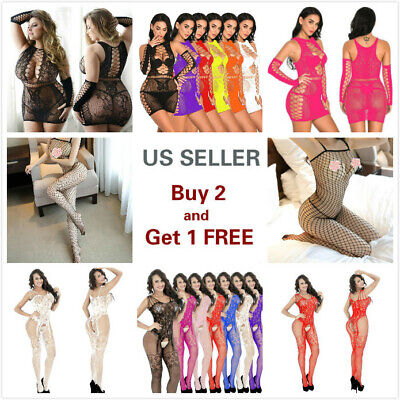 $4.99 • Buy Lingerie Sexy Bodystocking Bodysuit Fishnet Stocking Nightwear Sleepwear Lace