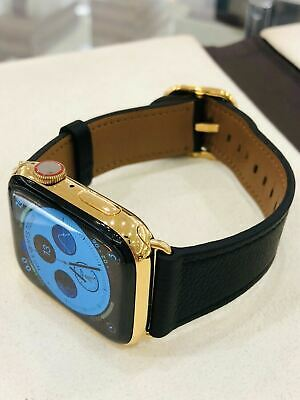 $ CDN1235.82 • Buy CUSTOM 24K Gold Plated 44MM Apple Watch SERIES 4 Stainless Black Leather GPS+LTE