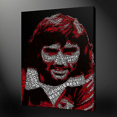 George Best Football Typography Canvas Wall Art Print Picture Ready To Hang • 62.10£