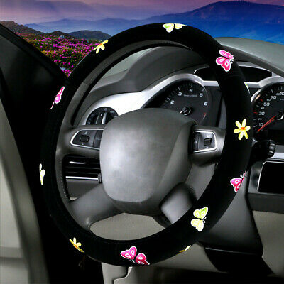 $12.99 • Buy DIY Car Accessories Butterfly Embroidered Steering Wheel Cover For Women Black