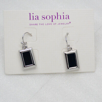 $ CDN10.85 • Buy Lia Sophia Signed Jewelry Cute Black Rectangle Earrings Polished Silver Plated