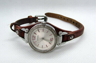 View Details Fossil Ladies Watch - Silver Dial W/ Brown Leather Strap - Georgia ES3472 Boxed • 45.00£