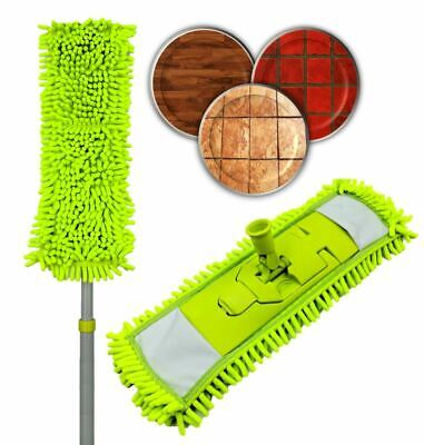 Extendable Microfibre Flat Floor Mop Noodle Duster Dry Wet Laminate Tile Cleaner • 6.99£
