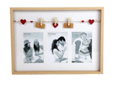 Wooden Photo Frames Love Picture Multi Collage Frame Triple Box I Love You Gifts • 9.62£