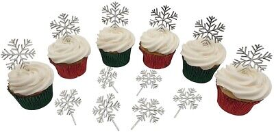 £3.50 • Buy 12 X SILVER SNOWFLAKE Christmas Cake Decorations Yule Log Cupcake Toppers